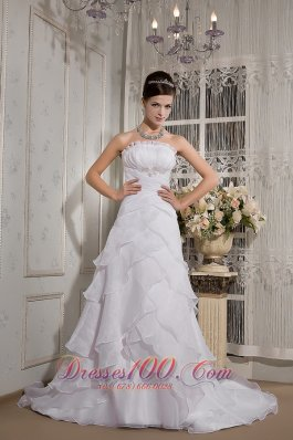 Cheap A-line Strapless Court Train Organza Appliques Wedding Dress - Top Selling