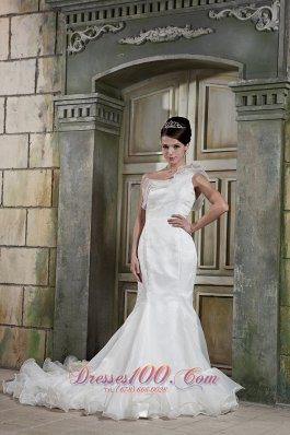 Custom Made Mermaid One Shoulder Court Train Organza Ruffles Wedding Dress - Top Selling