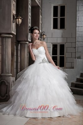 Beautiful Ball Gown Sweetheart Court Train Tulle and Taffeta Beading Wedding Dress - Top Selling