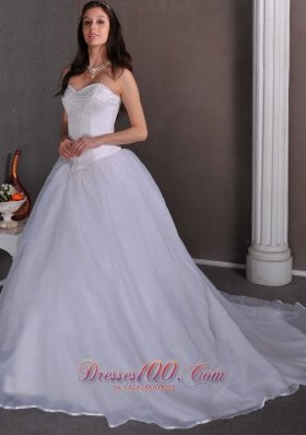 Simple A Line Sweetheart Beading Ball Gown Wedding Dress Chapel Train Satin  And Organza