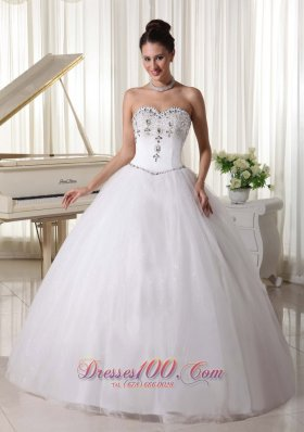 Organza Ball Gown Beaded Decorate Sweetheart and Waist With Rhinestones For Custom Made Wedding Dress