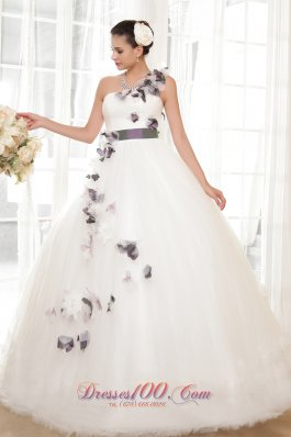 Gorgeous Ball Gown One Shoulder Floor Length Tulle Hand Flowers Wedding Dress