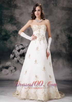 Affordable Wedding Dress A-line Sweetheart Lace Beading Court Train