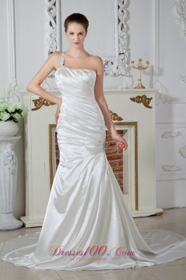 Luxurious Mermaid One Shoulder Brush Train Taffeta Beading Wedding Dress