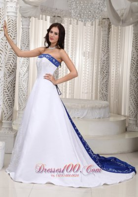 Romantic A-line Strapless Court Train Satin Embroidery Wedding Dress