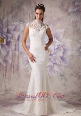 Customize Mermaid High Neck Lace Wedding Dress Beading Court Train