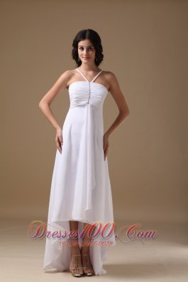 White Empire Halter High-low Chiffon Beading Prom Dress