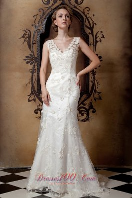 Gorgeous Column V-neck Brush Train Taffeta and Lace Wedding Dress