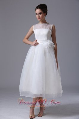 Simple Bateau Tea-length Organza Zipper-up Beach Wedding Dress