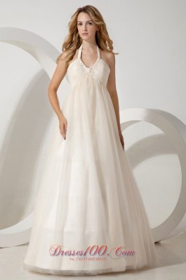 Cheap A-line Halter Brush Train Tulle Beading Wedding Dress