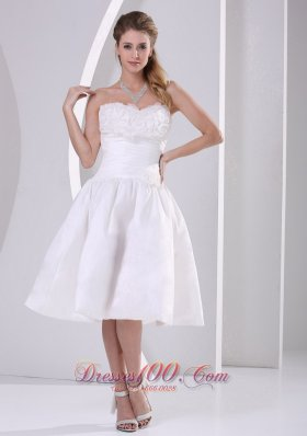 Wholesale A-line Strapless Ruch and Ruffles Tea-length Wedding Dress For Outdoor