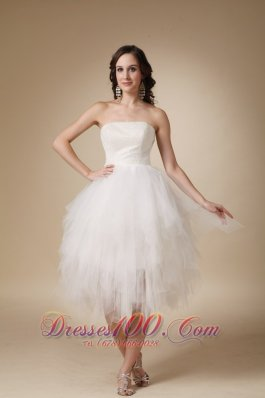 Lovely A-line Strapless Tea-length Tulle Beading Wedding Dress