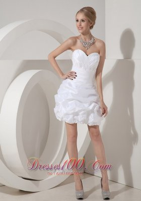 White Column Sweetheart Mini-length Taffeta Ruch Prom Dress