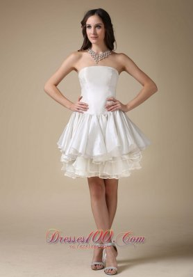 Beautiful A-line Cocktail Dress Strapless Elastic Woven Satin and Organza Mini-length