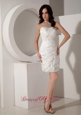 White Column / Sheath Sweetheart Mini-length Taffeta Beading Prom Dress