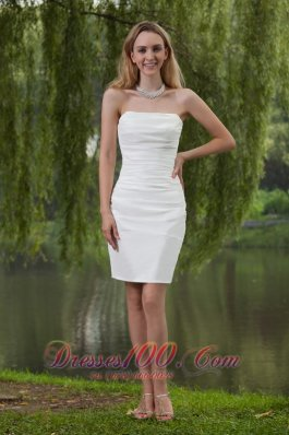 Simple Column/Sheath Strapless Mini-length Taffeta Wedding Dress