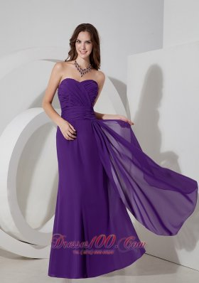 2013 Lovely Purple Column Sweetheart Prom Dress Chiffon Ruch Floor-length