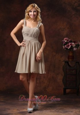 2013 Ruch Decorate Knee-length Grey Bridesmaid Dress With Straps Neckline