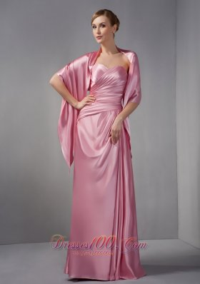 2013 Modest Rose Pink Column Mother Of The Bride Dress Sweetheart Ruch Floor-length Taffeta