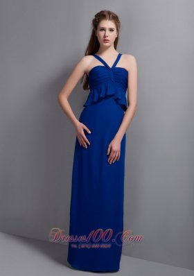 2013 Unique Peacock Blue V-neck Chiffon Bridesmaid Dress Floor-length