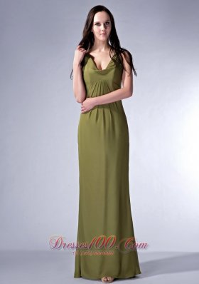 2013 Cheap Olive Green Cloumn V-neck Bridesmaid Dress Chiffon Ruch Floor-length