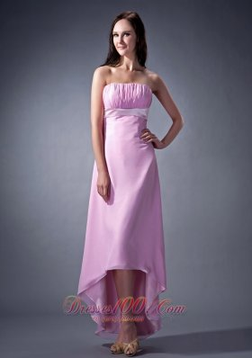 2013 Remarkable Pink Cloumn Strapless Bridesmaid Dress Ruch High-low Chiffon