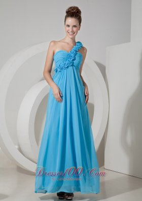 2013 Cheap Aqua Blue Empire One Shoulder Prom / Evening Dress Chiffon Hand Made Flowers Floor-length