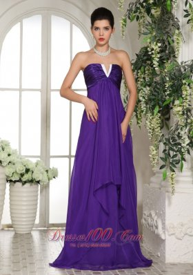 2013 Stylish V-neck Eggplant Purple 2013 Prom Celebrity Dress With Ruch In Oklahoma