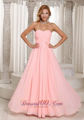2013 Baby Pink Stylish Bridesmaid Dress Ruched Bodice Chiffon For Wedding Party