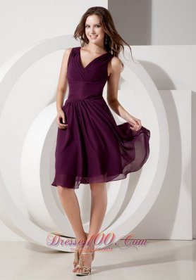 2013 Customize Dark Purple Cocktail Dress Empire V-neck Chiffon Beading Knee-length