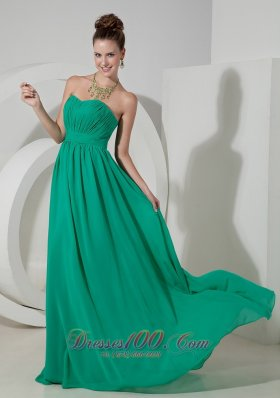 2013 Custom Made Turquoise Empire Sweetheart Homecoming Dress Chiffon Brush Train