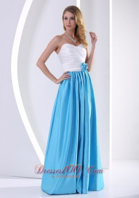 2013 White and Aqua Blue Sweetheart Hand Made Flower and Ruch Prom / Celebrity Dress 2013 Taffeta