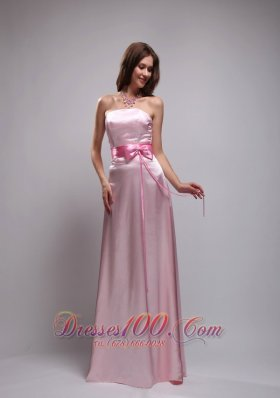 2013 Baby Pink Empire Strapless Floor-length Taffeta Beading and Bowknot Prom Dress