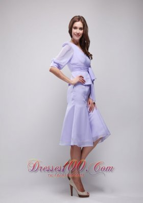 2013 Lavender Column V-neck Knee-length Chiffon Ruch Prom / Homecoming Dress