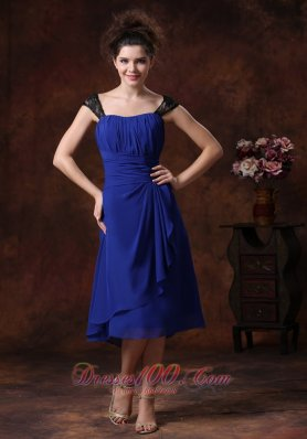 2013 Chiffon Ruched Straps Navy Blue 2013 Tea-length Bridesmaid Dress