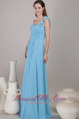 2013 Baby Blue Empire One Shoulder Floor-length Chiffon Ruched Bridesmaid Dress