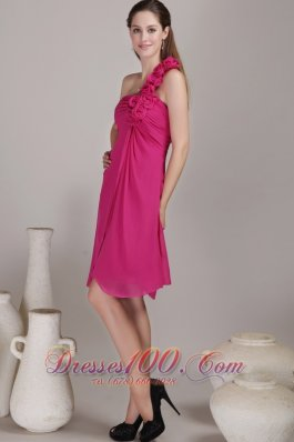 2013 Hot Pink Empire One Shoulder Knee-length Chiffon Hand Flowers Bridesmaid Dress