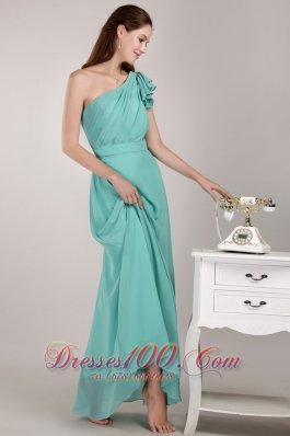 2013 Turquoise Column / Sheath One Shoulder Floor-length Chiffon Ruch Bridesmaid Dress