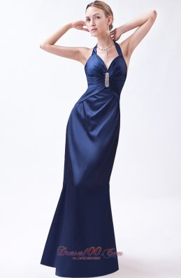2013 Navy Blue Column Halter Prom Dress Taffeta Beading Floor-length