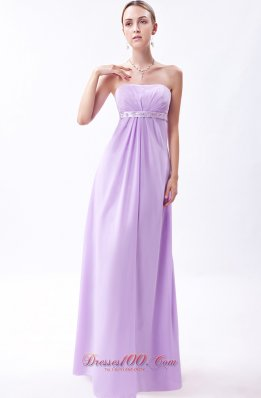 2013 Lavender Empire Strapless Floor-length Chiffon Embroidery Bridesmaid Dress