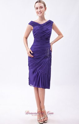 2013 Purple Column V-neck Prom Dress Chiffon Beading Knee-length