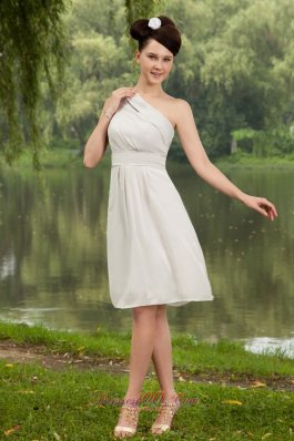 2013 Grey Empire One Shoulder Knee-length Chiffon Bridesmaid Dress
