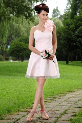 2013 Light Pink A-line One Shoulder Mini-length Tulle Hand Made Flowers Prom / Homecoming Dress