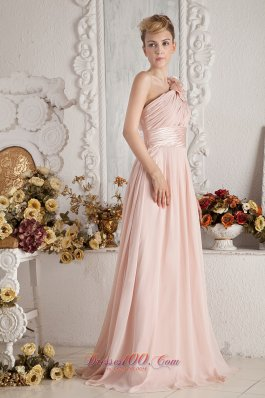 2013 Baby Pink Empire One Shoulder Brush Train Chiffon Hand Made Flowers and Ruch Prom Dress