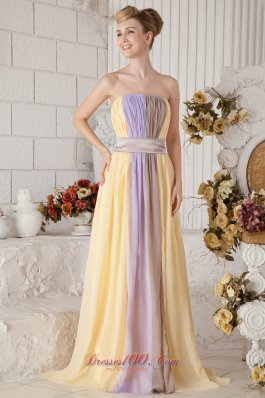 2013 Yellow and Lilac Colorful Empire Strapless Chiffon Prom Dress