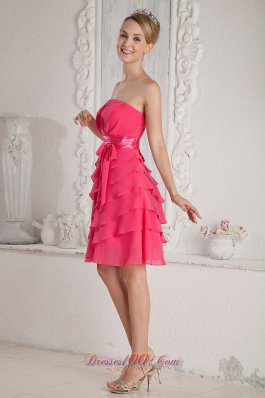 2013 Hot Pink Empire Strapless Ruch and Sash Prom Dress Mini-length Chiffon