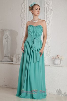 2013 Turquoise Empire Sweetheart Ruch and Sash Prom Dress Floor-length Chiffon