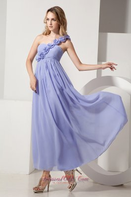 2013 Lilac A-line One Shoulder Hand Made Flowers Bridesmaid Dress Ankle-length Chiffon