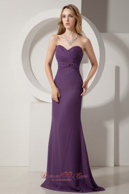2013 Dark Purple Column Sweetheart Brush Train Chiffon Ruch Prom Dress