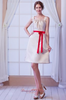 2013 Champagne A-line Square Mini-length Satin Bow Bridesmaid Dress
